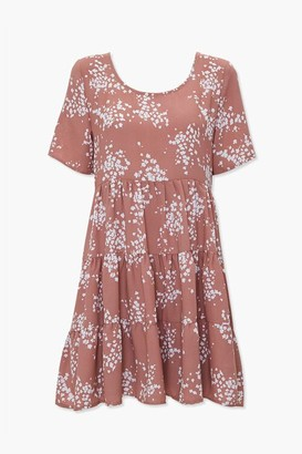 Forever 21 Speckled Print Tiered Mini Dress