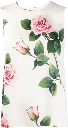 Dolce & Gabbana Tropical Rose Print Blouse