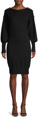 Laundry by Shelli Segal Buttoned Sweater Dress
