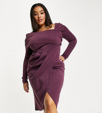 ASOS DESIGN Curve bare shoulder pencil midi dress in aubergine
