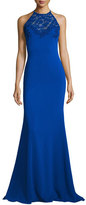Badgley Mischka Sleeveless Lace-Trim Jersey Mermaid Gown, Royal Blue