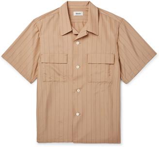 Chimala Camp-Collar Pinstriped Matte-Satin Shirt