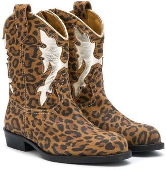 Gallucci Kids Leopard Print Cowboy Boots
