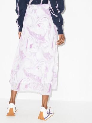 Ganni Swirl Pleated Midi Skirt