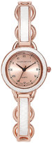 Charter Club Women's Rose Gold-Tone White Inset Bangle Bracelet Watch 28mm, Only at Macy's