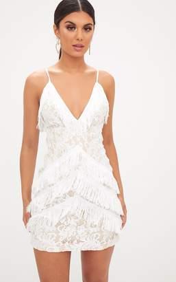 PrettyLittleThing White Strappy Lace Tassel Detail Bodycon Dress