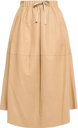 Vince Flared Leather Midi Skirt