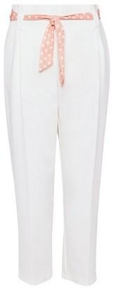 Dorothy Perkins Womens Dp Petite Ivory Tie Waist Ankle Grazer Trousers