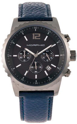 Morphic M67 Series, Gunmetal Case, Chronograph Blue Leather Band Watch w/Date, 44mm