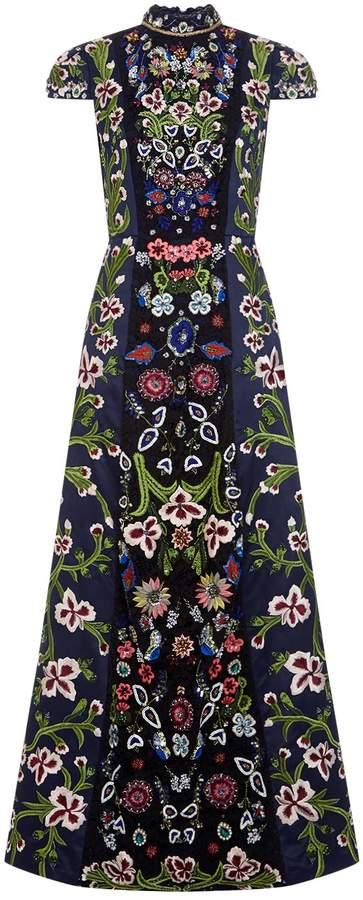 Alice + Olivia Nidia Floral Embellished Gown