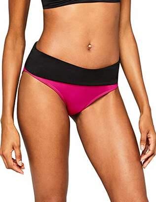 Iris & Lilly Women's Swimwear Bikini Bottoms with Contrast Colour Fold-Over Design,X-Small