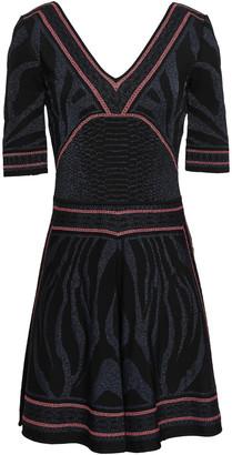 Roberto Cavalli Fluted Metallic Wool-blend Jacquard Mini Dress