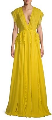 Giambattista Valli Ocra Lace Silk Gown
