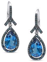 Zales Pear-Shaped London Blue Topaz and 1/2 CT. T.W. Enhanced Blue Diamond Frame Earrings in 14K White Gold