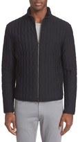 Armani Collezioni Men's Honeycomb Texture Bomber Jacket