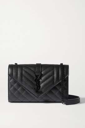 Saint Laurent Envelope Small Quilted Textured-leather Shoulder Bag - Black