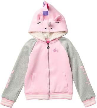 Betsey Johnson Faux Fur Raglan Unicorn Hoodie Jacket (Big Girls)