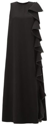 Valentino Ruffled Silk-cady Gown - Womens - Black
