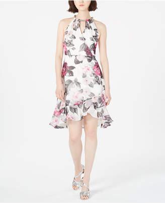 Calvin Klein Printed Chiffon Halter Dress