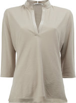 Lamberto Losani v-neck cropped sleeve blouse - women - Silk/Cotton - S