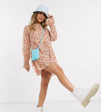 Wednesday's Girl smock dress with tie neck in spring floral