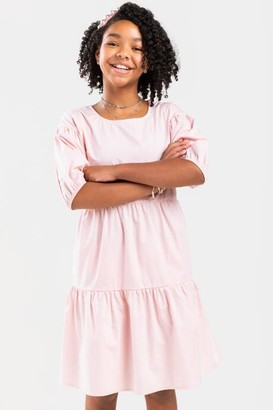 francesca's franki Puff Sleeve Tiered Mini Dress for Girls - Blush