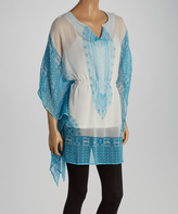 Turquoise & White Color Block Cape-Sleeve Tunic