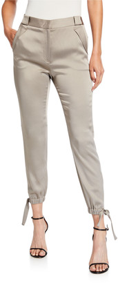 Halston Slim Fit Tie-Cuff Satin Ankle Pants