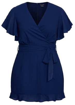 City Chic Frill Love Playsuit - navy