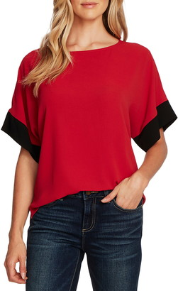 Vince Camuto Colorblock Short Sleeve Blouse