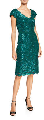 Tadashi Shoji V-Neck Short-Sleeve Sequin Lace Sheath Dress