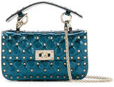Valentino small metallic blue Rockstud Spike cross body bag