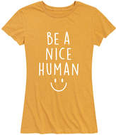 Instant Message Women's Women's Tee Shirts HEATHER - Heather Golden Meadow 'Be A Nice Human' Relaxed-Fit Tee - Women