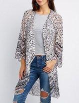 Charlotte Russe Floral Crochet-Trim Kimono