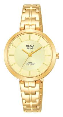 Pulsar Womens Analogue Solar Powered Watch with Stainless Steel Strap PY5062X1