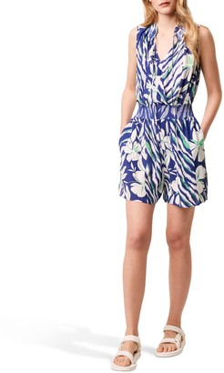 French Connection Anika Floral Print Sleeveless Playsuit, Clement Blue/Multi