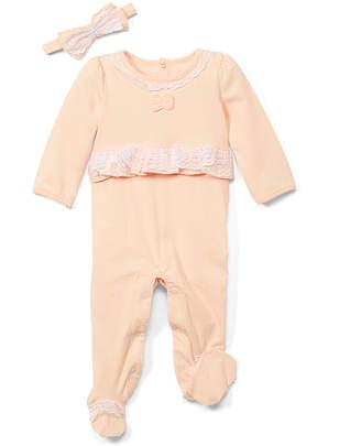 Baby Starters Girls' Headbands Lt/pastel - Light Pastel Pink Ruffle Footie & Headband - Newborn & Infant