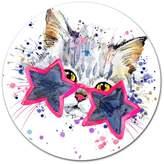 "Design Art Usa Cute Kitten With Blue Stars, Animal Round Wall Art, 11"""