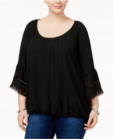 Eyeshadow Trendy Plus Size Bell-Sleeve Top