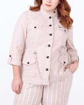 Penningtons 3/4 Sleeve Button Up Linen Jacket
