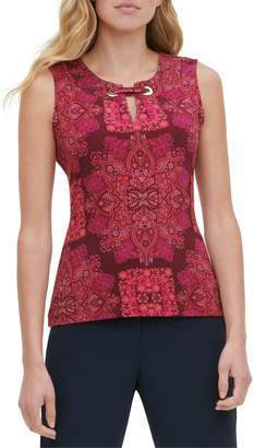 Tommy Hilfiger Printed Grommet Sleeveless Knit Top