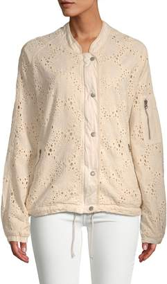 Free People Daisy Jane Eyelet Bomber Jacket