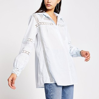 River Island Blue long sleeve embroidered detail shirt