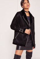 Missguided Tall Faux Fur Lined Pilot Jacket Black