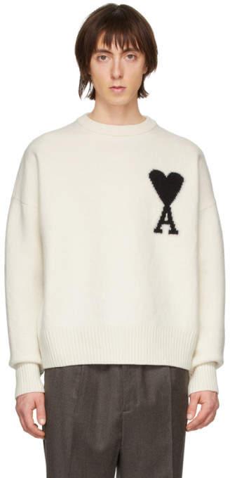 Ami Alexandre Mattiussi Off-White Merino Ami De Coeur Crewneck Sweater