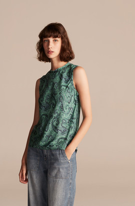 Rebecca Taylor Tailored Margaux Paisley Sleeveless Top