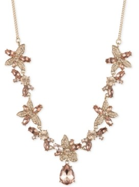 """Givenchy Crystal Flower Frontal Necklace, 16"""" + 3"""" extender"""