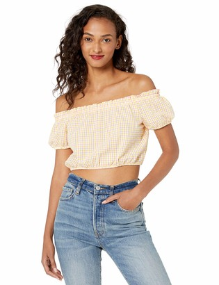 BCBGeneration Women's Off-The- Off-The-Shoulder Check Cropped Top