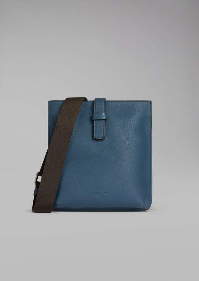 Giorgio Armani Flat Crossbody Bag In Grained Leather With Fabric Strap