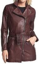 Classyak Women's Fashion Real Leather Coat burgundy XX-Large